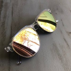 Accessories - Rose Gold and Acrylic Mirrored Sunglasses